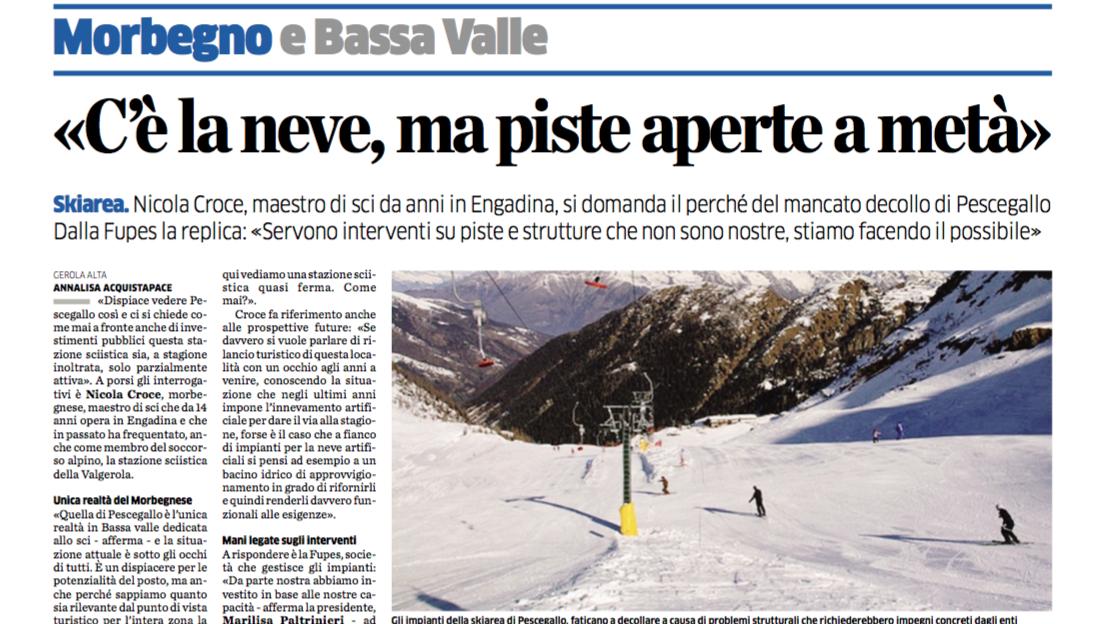 C'è la neve ma piste aperte a metà - Pescegallo Valgerola - La Provincia di Sondrio